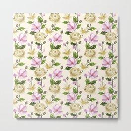 Elegant ivory pink lavender country floral pattern Metal Print