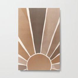 Neutral Earth Tones Boho Sun Decor Metal Print