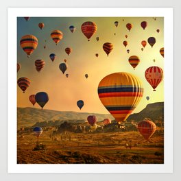 Hot Air Balloons at Sunrise in Cappadocia Art Print