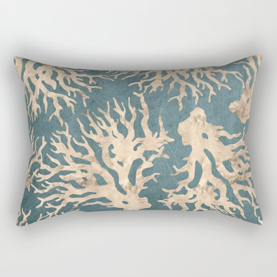 Coral teal - scratched leather Rectangular Pillow