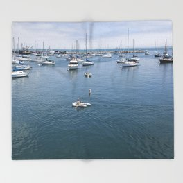 Monterey Bay Row Boat Throw Blanket