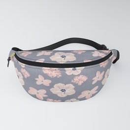 Hawaiian Tropical Flower Pattern - Pink and Gray Fanny Pack