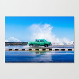 Waves and Classic Cars of the Malecón - 8 Canvas Print