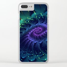 Psychedelic Fractal Bloom Spiral - Manafold Art Clear iPhone Case