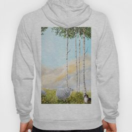 Afternoon on the Hill Birch Tree Painting Hoody