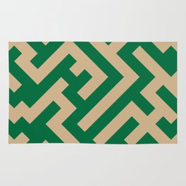 Tan Brown and Cadmium Green Diagonal Labyrinth Rug
