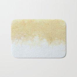 Textured Neutral white and Tan Abstract Bath Mat