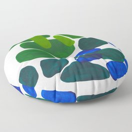 Mid Century Vintage Abstract Minimalist Colorful Pop Art Phthalo Blue Lime Green Pebble Shapes Floor Pillow
