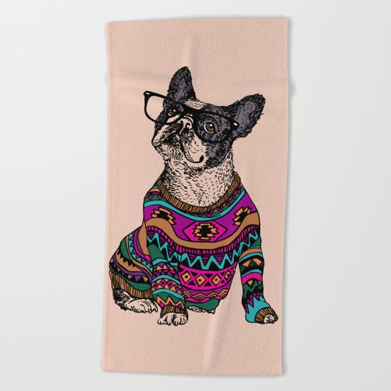 hipster frenchie Beach Towel