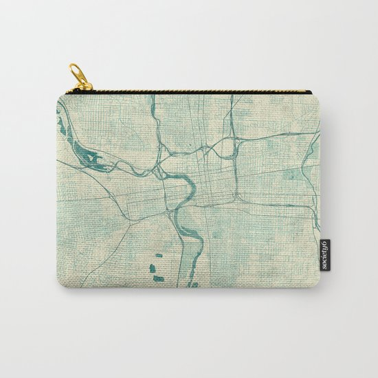 Columbus Map Blue Vintage Carry-All Pouch