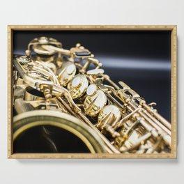 Alto saxophone black background Serving Tray