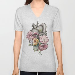 Floral Anatomy Heart Unisex V-Neck
