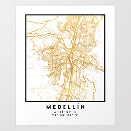 MEDELLÍN COLOMBIA CITY STREET MAP ART Art Print