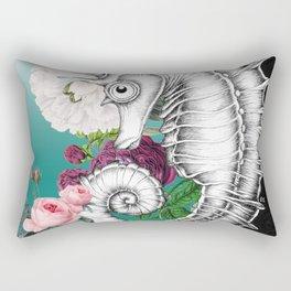 Seahorse Ink Roses Vintage Aqua Chic Rectangular Pillow