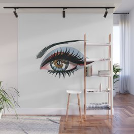 Blue eye with make up Wall Mural