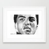 ali Framed Art Prints featuring Ali by DeMoose_Art