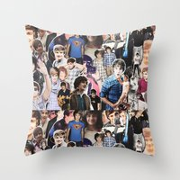 liam payne Throw Pillows featuring Liam Payne - Collage by Pepe the frog