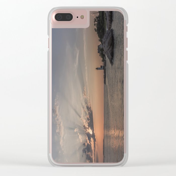 Sunbeams at Annisquam lighthouse Clear iPhone Case