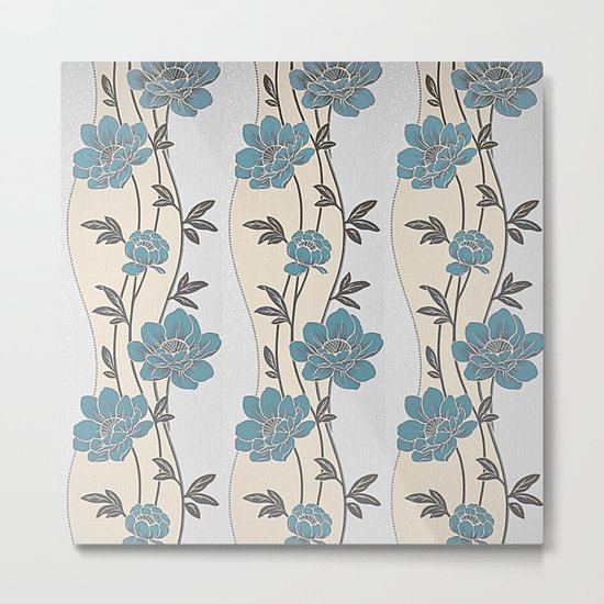 Greenish Blue Flower Garland Metal Print