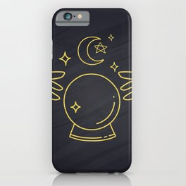 Hands Holding Sun Ray And Moon Crescent, Minimal Wall Art iPhone Case
