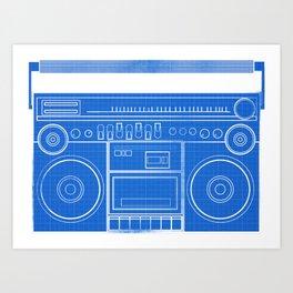 BoomBox blueprint Art Print
