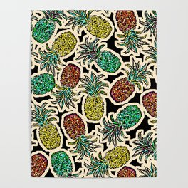 Pineapple Pandemonium Two - Retro Tones Poster