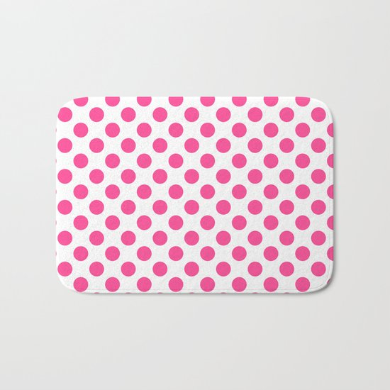 Pink polkadots dots circles on white background Bath Mat