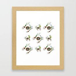 Easter flowers and birds nest pattern Framed Art Print