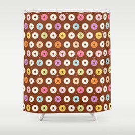 Kawaii Donuts Pattern on Brown Shower Curtain