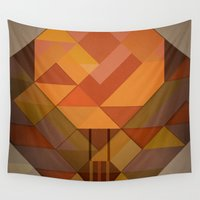 hot air balloon Wall Tapestries featuring Hot Air Balloon Abstract by Alyn Spiller