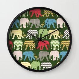 baby elephants and flamingos green Wall Clock