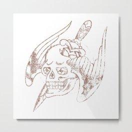 American Traditional Distressed Pierced Winged Skull Metal Print