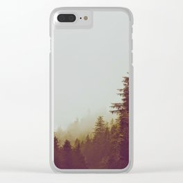 Olive Green Sepia Misty Pine Forest Landscape Photography Parallax Trees Clear iPhone Case