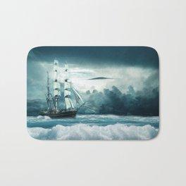 Blue Ocean Ship Storm Clouds Bath Mat