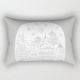 Linocut White Holidays Rectangular Pillow
