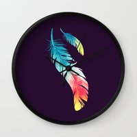 nursery Wall Clocks featuring Feather by Freeminds