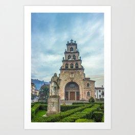 Statue of the King Pelayo and Santa Cruz chapel Art Print