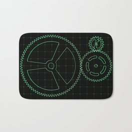 Set of green gears and cogs on virtual screen Bath Mat