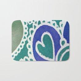 Blue Green Sea Theme Heart Bath Mat