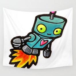 Robot - Love Rocket Wall Tapestry
