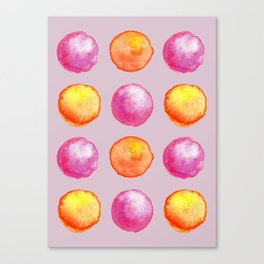 Juicy Watercolor Pink Pearls And Orange Fireballs Pattern Canvas Print
