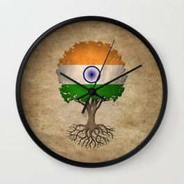 Vintage Tree of Life with Flag of India Wall Clock