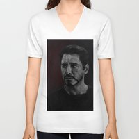 robert downey jr V-neck T-shirts featuring Robert Downey Jr by Oput Studios