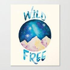 Wild & Free - Gypsy Galaxy Starscape Mountains Canvas Print