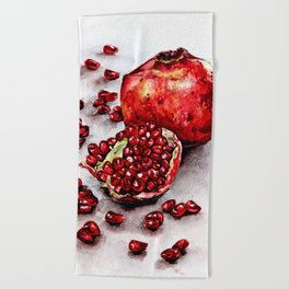 Red pomegranate watercolor art painting Beach Towel