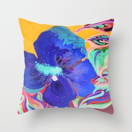 Birthday Acrylic Blue Orange Hibiscus Flower Painting with Red and Green Leaves Throw Pillow