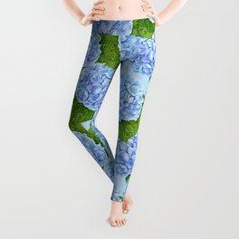 Blue hydrangea watercolor pattern Leggings