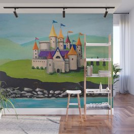 Kids Storybook Castle by the Water Wall Mural
