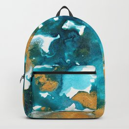 Aqua Teal Gold Abstract Painting #1 #ink #decor #art #society6 Backpack