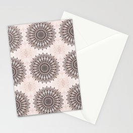 Zen brown mandala pattern Stationery Cards